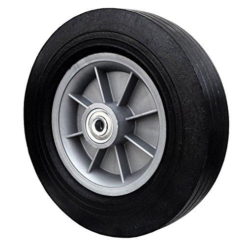 Flat Free Tire 10' x 2.75' Hand Truck Wheel - 2.25' Offset Hub - 3/4' Axle - 550 lbs Capacity