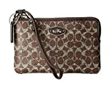 Coach Small L-Zip Wristlet in Signature Coated Canvas 52436,Brown/Brown
