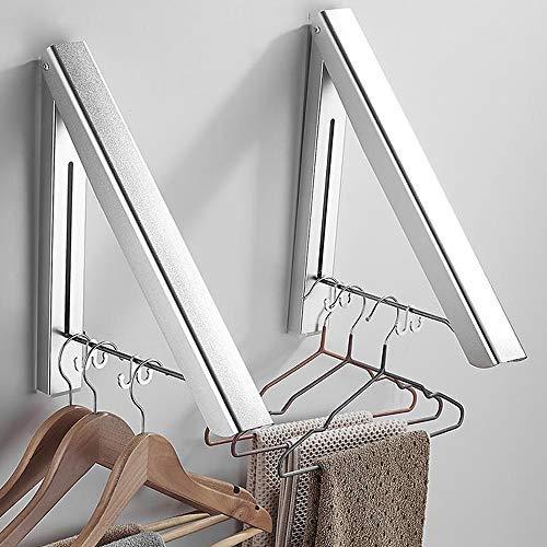 Plegable Perchero de Pared, 2 Piezas Abatible Aluminio Ropa Percha Utilizado en balcones, dormitorios, baños, oficinas y otros lugares