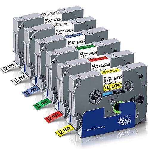 UniPlus Cinta de Etiquetas Compatible Brother TZe-231 TZe-131 TZe-431 TZe-531 TZe-631 TZe-731 Laminada 12mm x 8m para Brother P-Touch PT 1000 1005 PT H101C H110 H105 D200 D400 D600VP P750W, Pack de 6