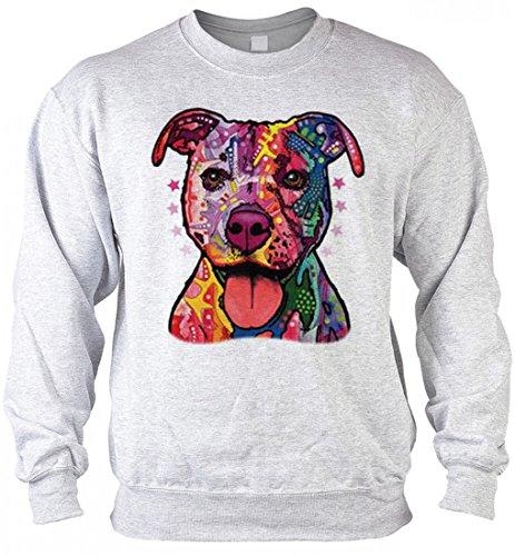 rohuf Design Neon Sweater - Bunter Hund - Super Pitbull - Sweatshirt als kreative Geschenk Aufdruck für Hundefreunde Pullover, Größe:L