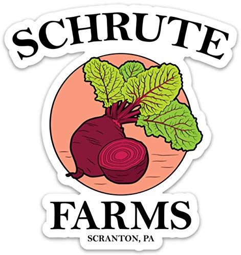 Schrute Farms Beets Office - Vinyl Sticker Waterproof Decal 4' for Laptop, Waterbottle etc