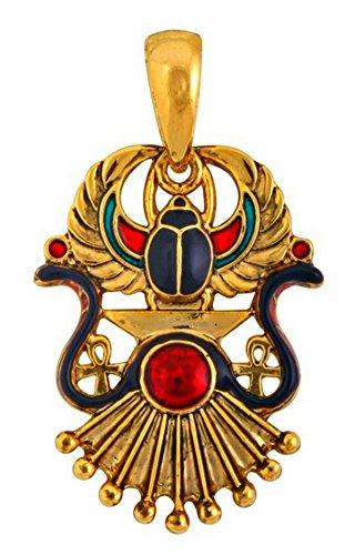 Schöner Anhänger Ägyptische geflügelten Skarabäus Relief Gott RÂ Cléopâtre emailliert vergoldet Basisstation mit Leder