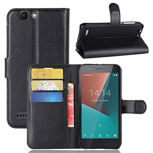 Tasche für Vodafone Smart E8 Hülle , Ycloud PU Kunstleder Ledertasche Flip Cover Wallet Case Handyhülle mit Stand Function Credit Card Slots Bookstyle Purse Design schwarz
