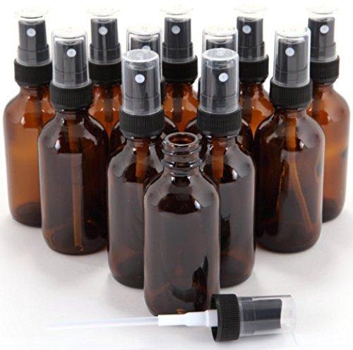 GPS DP-1G-AMBER-FMS Amber Boston Round Glass Bottle with Fine Mist Sprayer, 1 oz. (Pack of 12)