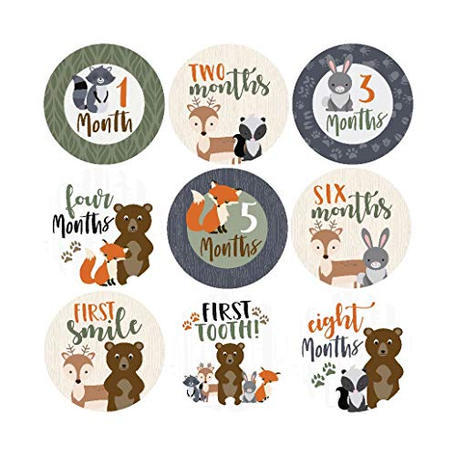 16 Woodland Animals Baby Milestone Stickers, 12 Monthly Photo Picture Props for Boy or Girl Infant Onesie, 1st Year New Months Belly Decals, Scrapbook Memory Registry Gift, Best Shower Basket Present