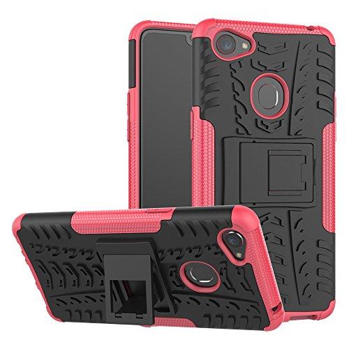 TiHen Handyhülle für Oppo F7 Hülle, 360 Grad Ganzkörper Schutzhülle + Panzerglas Schutzfolie 2 Stück Stoßfest zhülle Handys Tasche Bumper Hülle Cover Skin mit Ständer -Rose