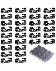 URAQT Kabelklemmen, 30 stuks Zelfklevend Kabelklemmen, Kabelhouders met Lijm voor Kabeldiameters Binnen 7 mm, voor Thuis, op Kantoor, in de Garage en Werkplaats