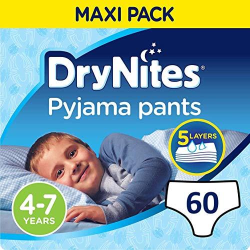 16 Culottes 17-30 kg Huggies Drynites 4-7 ans Gar/çon - Sous-v/êtements de Nuit Absorbants pour Enfants qui font Pipi au Lit