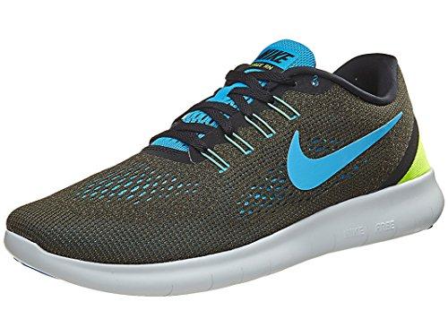 Nike Herren Free RN Laufschuhe, Grün (Cargo Khaki/Blue Glow/Black/Volt), 38.5 EU