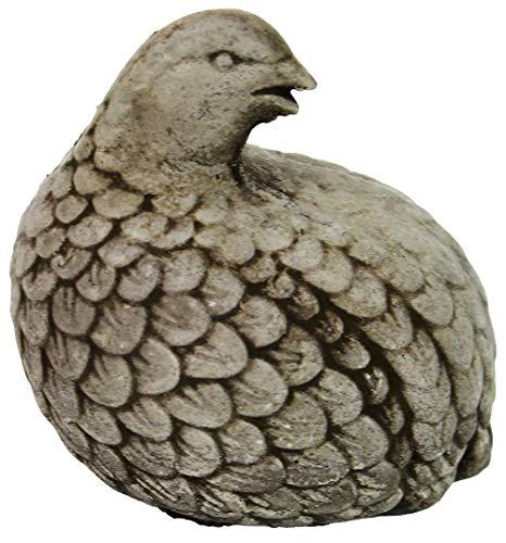 Fleur de Lis Garden Ornaments LLC Quail Concrete Ornamental Statue Cement Bird Figurines Carved Sculpture Yard Art