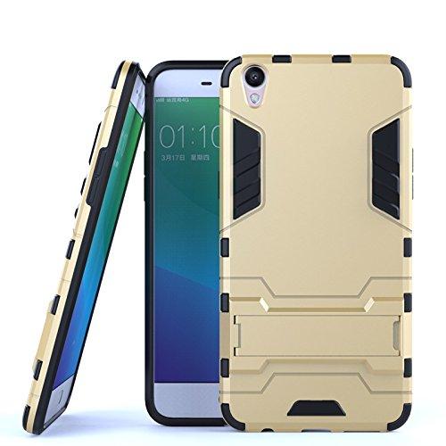 ZHIWEI Das tragbare Handy Tasche Für Oppo R9 Plus Standhalter-Handygehäuse, robuste Kickstand-Rückseite, Schutzhülle (Color : Gold)