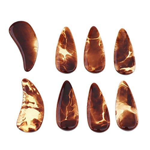 1 Packung Guzheng Fingertip Fingerspitzen Fingerpicks Fingerschutz Finger Plektrum mit Nut und Bogen - Natürliche Farbe, Groß