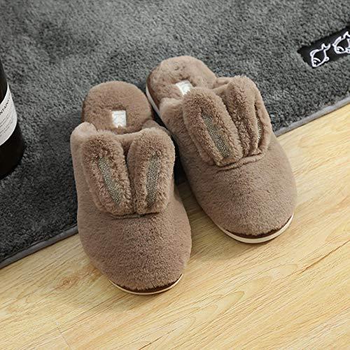 COQUI Slippers Men,Herbst und Winter Neue süße Kaninchen nach Hause Hausschuhe rutschfest Innen warm Paar Paar Boden einfache süße Plüsch Schuhe-Braun_43-44
