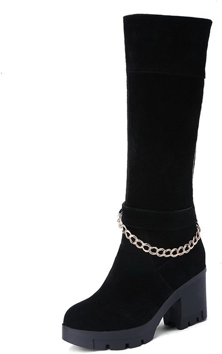 WeenFashion Women's Imitated Suede High-heels Round-toe Boots with Metal Ornament and Thick Heels