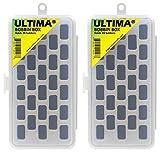 Ultima Bobbin Holder - Bobbin Case - Plastic Bobbin Storage Boxes - Plastic Bobbins - Threaded Bobbins - Sewing Notions, Quilting Accessories (Bobbin Box 2-Pack)