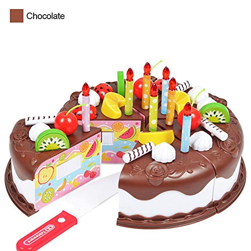 Kinderspielzeug Set Zum Schneiden - Geburtstagstorte Festliches Mädchen Torten Spielzeug Blasende Kerze Obst Häschen Torten Haus Rollenspiel Spielzeug