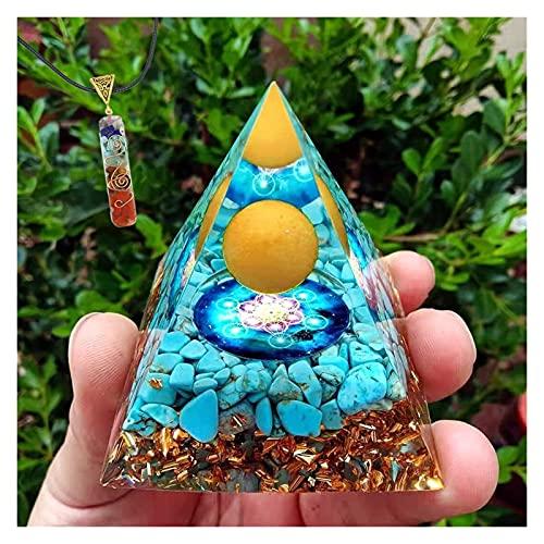 HCHL Pirámide de orgonita, Pirámide Orgonita Amatista Energía Piramida El Juego de pirámide de Cristal con generador de e (Color : A, tamaño : 60X60mm)