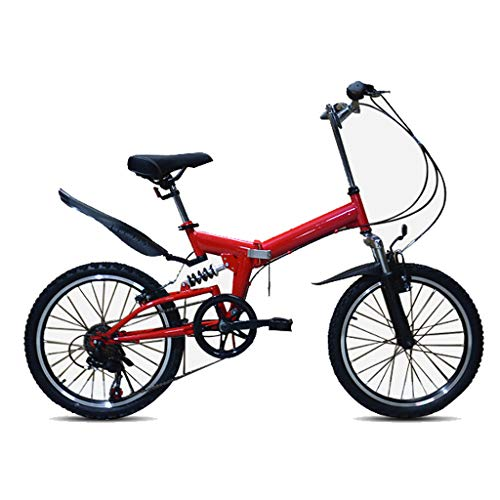 LJHHH Folding Bicycle Shifting Mountain Bike, 20-Inch Tire Road Bike High Carbon Steel Frame, Shock Absorption Small Wheel Mountain Bike for Adult,Red