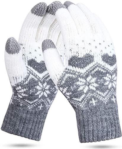 AULLY PARK Guantes de invierno para pantalla táctil, guantes de punto, guantes de punto, guantes cálidos, guantes de punto, como regalo (gris nieve)