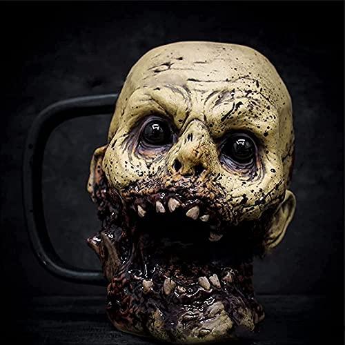 AHURGND Copa de Creatividad, Macabre Taza de café/Taza, Zombie/Skeleton Cranium Skull Style Beer Taza, Horror 3D Zombie Head Taza de Agua, Macabre Decor Party Party Prop Figurilla (Color : Si)