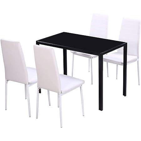 vidaXL Conjunto de Salón Comedor 5 Piezas Negro Juego de Mesa ...