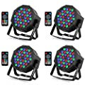 YeeSite 36LED Stage Lights, RGB DJ LED Par Can, Remote and DMX Control, Sound Activated Auto Play Uplights for Wedding Birthday Party Stage Lighting - 4 Pack