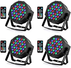YeeSite 36LED Stage Lights, RGB DJ LED Par Light, Remote and DMX Control, Sound Activated Auto Play Uplights for Wedding Birthday Party Stage Lighting - 4 Pack
