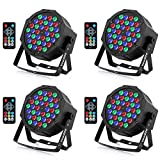 YeeSite 36LED Stage Lights, RGB DJ LED Par Can, Remote and DMX Controll, Sound Activated Auto Play Uplights for Wedding Birthday Party Stage Lighting - 4 Pack