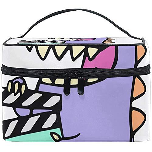Happy Purple Dragon Estuche de Maquillaje Bolsa de cosméticos, Capacidad y Bolsas de Maquillaje Ajustables Bolsa de Aseo Impermeable