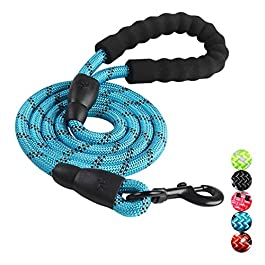 Bahob® Rope Dog Lead 5FT Durable Rope with Soft Padded Handle and High Reflective Threads,Twist Lead in Strong Pulling Support Dogs