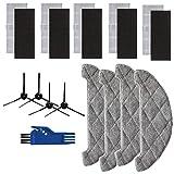 TeKeHom Lot de 19 accessoires de rechange (filtre, brosse latérale et serpillière) pour aspirateur robot Proscenic 850T