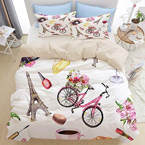 Juego de ropa de cama de 3 piezas, estilo parisino con flores, bicicleta, vino, queso, cosméticos, taza de café, macarrones, torre Eiffel, juego de funda nórdica moderna con 2 fundas de almohada Juego