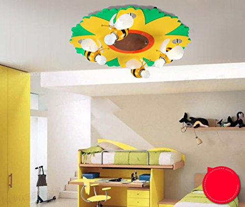 Lily's-uk Love Petites fleurs d'abeille plafonnier LED Creative Cartoon Animal Modeling Boy Girl Salle d'enfants Chambre Lampe