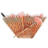 Pinceaux de maquillage, Nincee 20pcs Pinceau de maquillage pour Blush Foundation Correcteur Blush Surligneur Fard à Paupières Kit de Brosses (Or Rose)