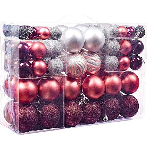 Victor's Workshop Weihnachtskugeln 100tlg.Plastik Christbaumkugeln Set Christbaumschmuck für Weihnachtsbaum Weihnachtsdeko Hausdeko Mysteriöser Palast Thema rosa lila Silber MEHRWEGVERPACKUNG