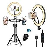 Luz de Anillo LED con Trípode, 10.2' Aro de Luz para Móvil con Control Remoto Bluetooth,120 LED 3 Modo y 10 Brillo para Selfie TikTok Youtube Instagram Vlog Vídeo Maquillaje Enseñanza