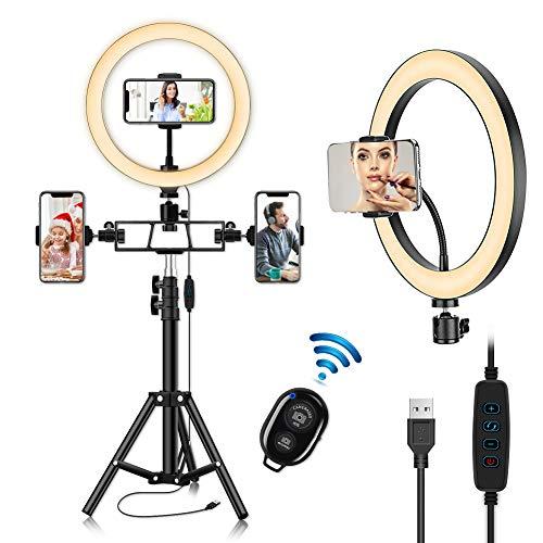"""Luz de Anillo LED con Trípode, 10.2"""" Aro de Luz para Móvil con Control Remoto Bluetooth,120 LED 3 Modo y 10 Brillo para Selfie TikTok Youtube Instagram Vlog Vídeo Maquillaje Enseñanza"""
