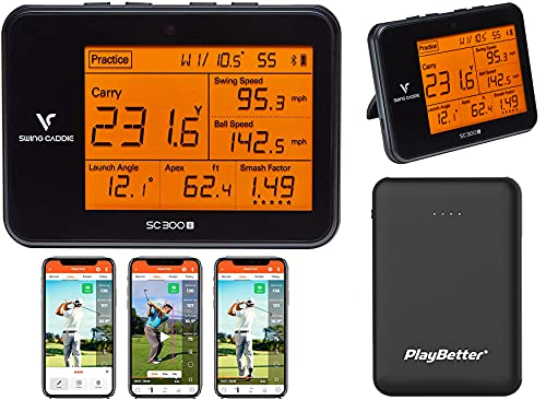 Swing Caddie SC300i by Voice Caddie Golf Launch Monitor Charger Bundle | 2021 | Includes PlayBetter Portable Charger (Large) | Carry Total Distance, Smash Factor, Swing Speed | Video Swing in App