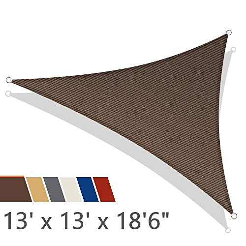 iCOVER Sun Shade Sail 13' x 13' x 18'6' Triangle Canopy, 185GSM Fabric Permeable Pergolas Top Cover, for Outdoor Patio Lawn Garden Backyard Awning, Brown