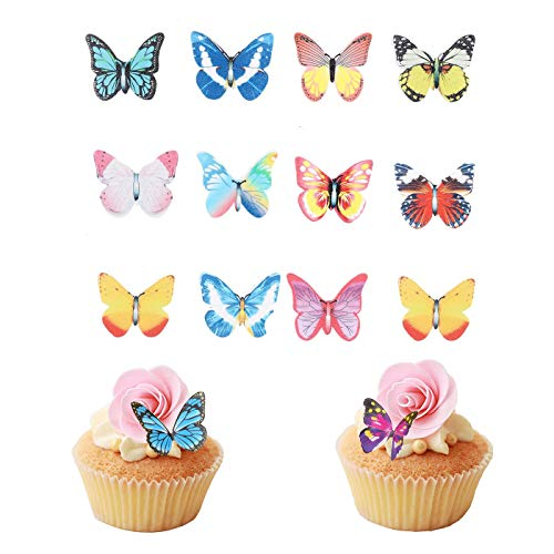 50 pcs Butterfly decorations edible cake decorations butterfly Cupcake Toppers edible Wedding Cake Birthday Party Food Decoration Mixed Size & colour for butterfly party decorations