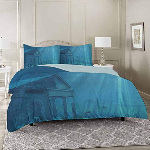 YUAZHOQI Ocean Duvet Cover Set King, Sun Rays Over Ruins of A Former Civilization Deep Sea Atlantis World Nautic Decorative 3 Piece Bedding Set with 2 Pillow Shams
