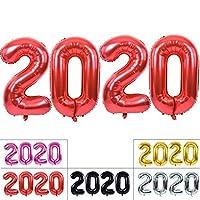 TONIFUL 2020 Happy New Year バルーン 40インチ レッド 2020 数字バルーン アルミ箔 マイラーバルーン 2020年 大晦日 クリスマス 記念日 パーティー用品