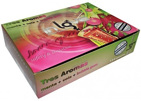 Preservativos IN LOVE CONDOMS 144 – 3 Aromas (48 Menta, 48 Cola y 48 Bubble Gum)