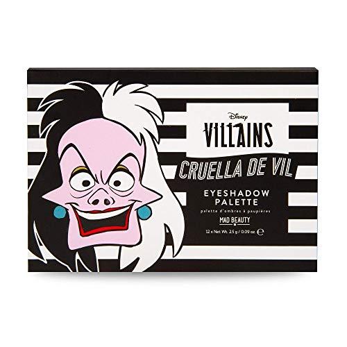 MAD Beauty Paleta de Sombras de Ojos Cruella con 2 Colores Diferentes y Espejo Incluido, Disney Cruella Palette, Multicolor