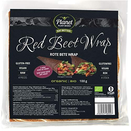 Planet Plant-Based Wraps de remolacha - 4 piezas - la alternativa saludable a los wraps de tortilla - Orgánico - Vegano - Sin gluten - Ricos en nutrientes