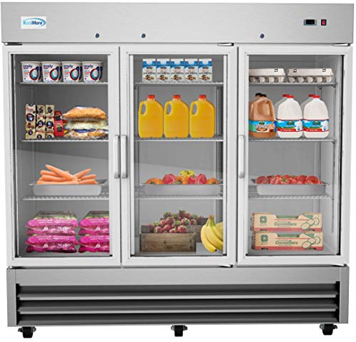 KoolMore RIR-3D-GD 81' 3 Glass Door Commercial Reach-in Refrigerator Cooler with LED Lighting - 72...