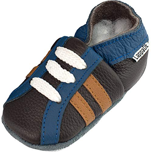 Lappade Sport braun blau Wildleder Jungen Sportsneaker Lederpuschen Hausschuhe Krabbelschuhe Baby Lauflernschuhe mit Ledersohle (Gr. 23/24 EU XL, Art. 117)