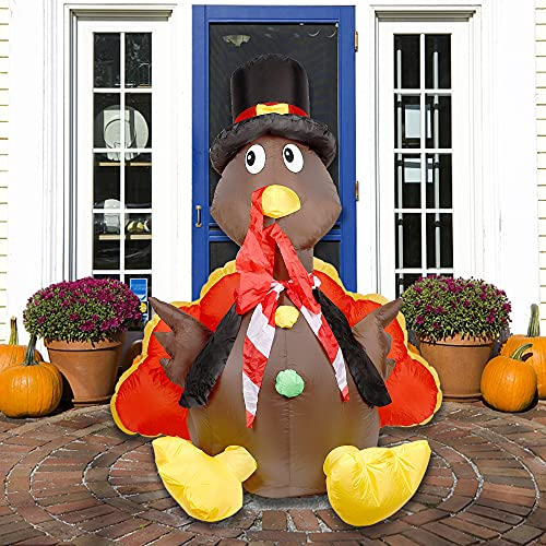 Cllayees Thanksgiving Inflatable 5 Ft Turkey LED Lights, Blow up Outdoor Decorations for Garden Yard Lawn Autumn Party