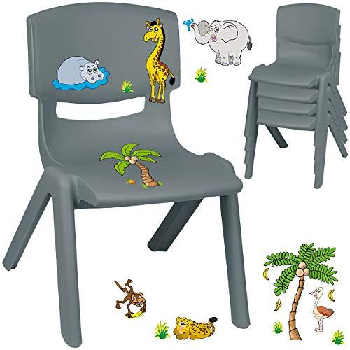 alles-meine.de GmbH Kinderstuhl / Stuhl - Motivwahl - grau - anthrazit + Sticker - Zootiere & Giraffe - inkl. Name - Plastik - bis 100 kg belastbar / kippsicher - für INNEN & AUß..